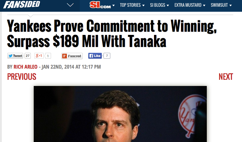 Yankees Prove Commitment to Winning, Surpass $189 Mil With Tanaka